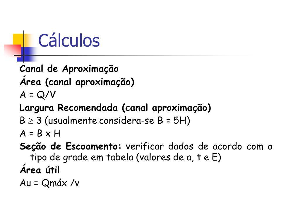 Cálculos Canal de Aproximação Área (canal aproximação) A = Q/V Largura Recomendada (canal aproximação) B 3 (usualmente considera-se B = 5H) A = B x H Seção de Escoamento: verificar dados de acordo com o tipo de grade em tabela (valores de a, t e E) Área útil Au = Qmáx /v