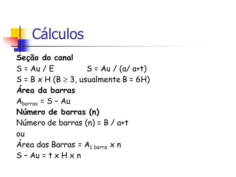 Cálculos Seção do canal S = Au / E S = Au / (a/ a+t) S = B x H (B 3, usualmente B = 6H) Área da barras A barras = S – Au Número de barras (n) Número de barras (n) = B / a+t ou Área das Barras = A 1 barra x n S – Au = t x H x n