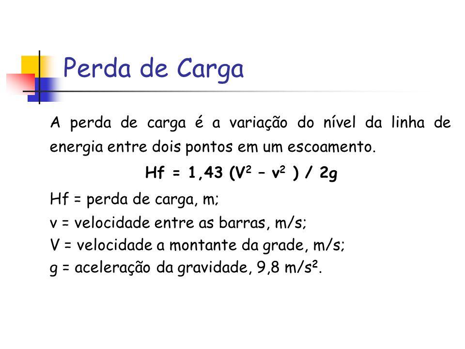 Perda de Carga A perda de carga é a variação do nível da linha de energia entre dois pontos em um escoamento. Hf = 1,43 (V 2 – v 2 ) / 2g Hf = perda d