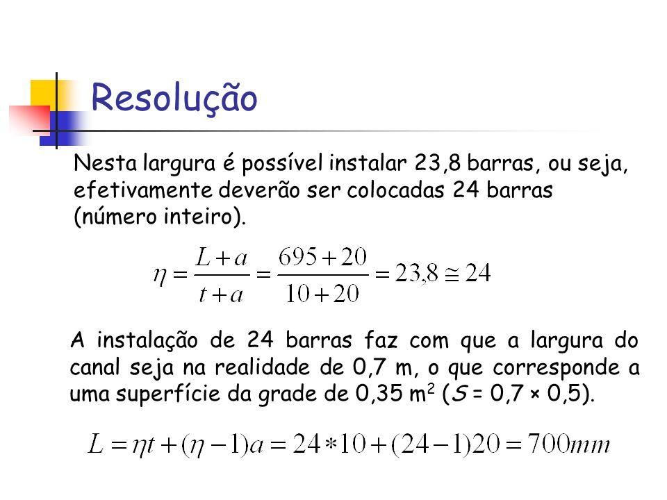 Resolução Nesta largura é possível instalar 23,8 barras, ou seja, efetivamente deverão ser colocadas 24 barras (número inteiro). A instalação de 24 ba