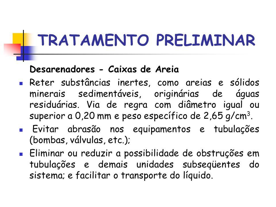 TRATAMENTO PRELIMINAR Desarenadores - Caixas de Areia Reter substâncias inertes, como areias e sólidos minerais sedimentáveis, originárias de águas residuárias.