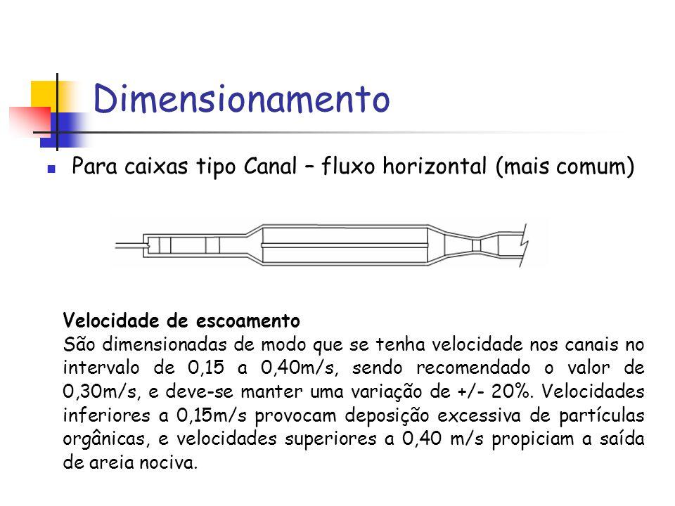 Dimensionamento Para caixas tipo Canal – fluxo horizontal (mais comum) Velocidade de escoamento São dimensionadas de modo que se tenha velocidade nos canais no intervalo de 0,15 a 0,40m/s, sendo recomendado o valor de 0,30m/s, e deve-se manter uma variação de +/- 20%.