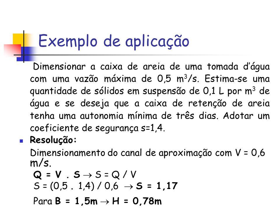 Exemplo de aplicação Dimensionar a caixa de areia de uma tomada dágua com uma vazão máxima de 0,5 m 3 /s. Estima-se uma quantidade de sólidos em suspe