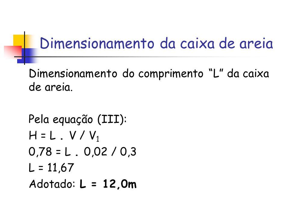 Dimensionamento da caixa de areia Dimensionamento do comprimento L da caixa de areia. Pela equação (III): H = L. V / V 1 0,78 = L. 0,02 / 0,3 L = 11,6