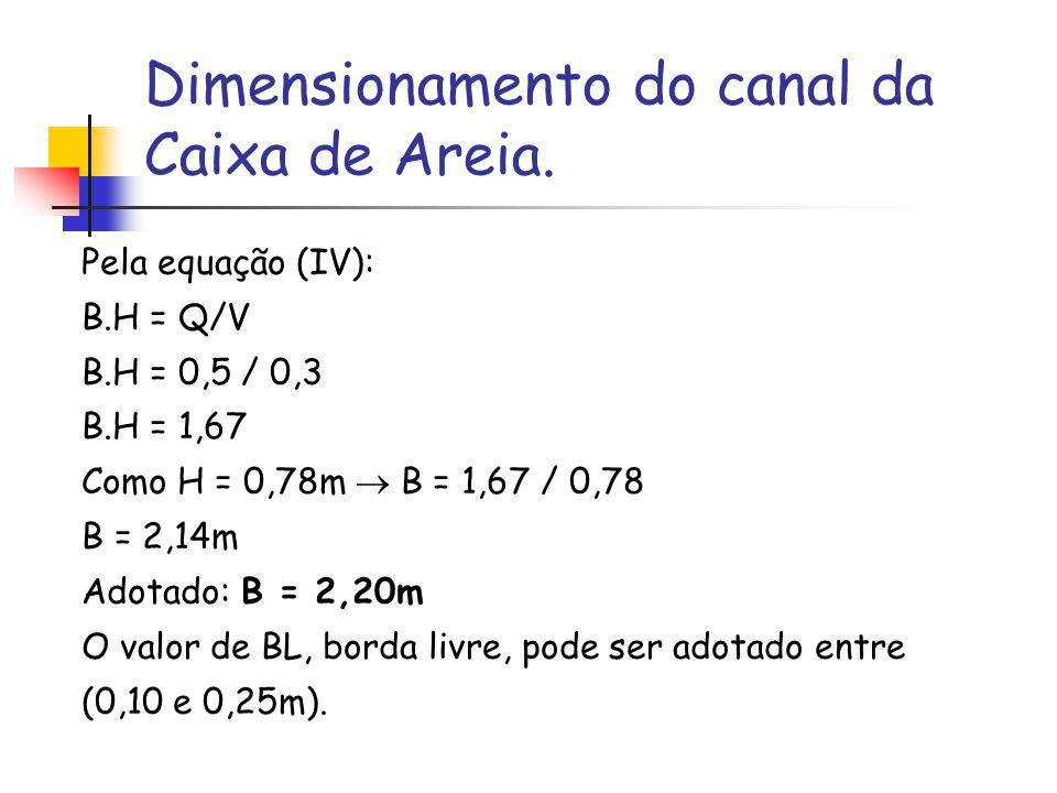 Dimensionamento do canal da Caixa de Areia. Pela equação (IV): B.H = Q/V B.H = 0,5 / 0,3 B.H = 1,67 Como H = 0,78m B = 1,67 / 0,78 B = 2,14m Adotado: