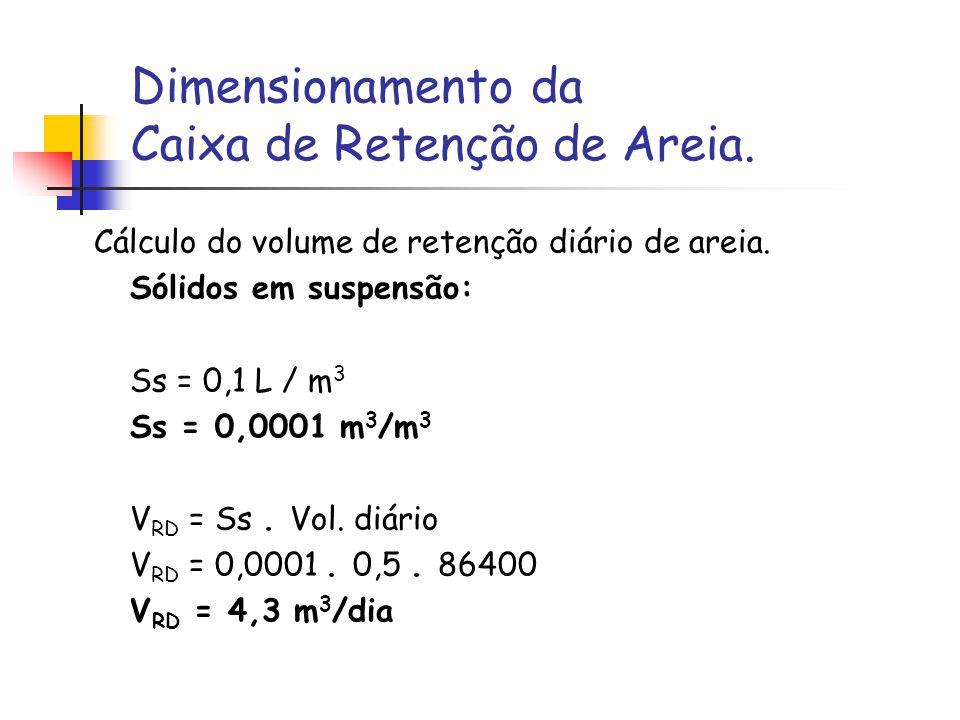 Dimensionamento da Caixa de Retenção de Areia. Cálculo do volume de retenção diário de areia. Sólidos em suspensão: Ss = 0,1 L / m 3 Ss = 0,0001 m 3 /