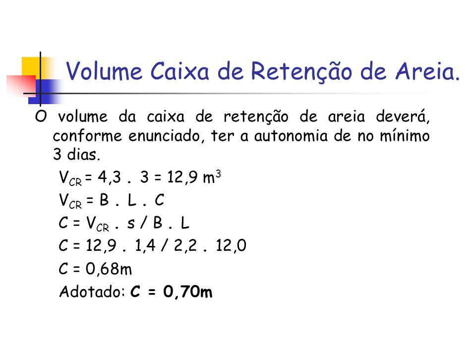 Volume Caixa de Retenção de Areia. O volume da caixa de retenção de areia deverá, conforme enunciado, ter a autonomia de no mínimo 3 dias. V CR = 4,3.