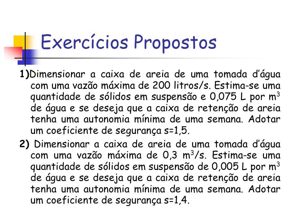 Exercícios Propostos 1)Dimensionar a caixa de areia de uma tomada dágua com uma vazão máxima de 200 litros/s.