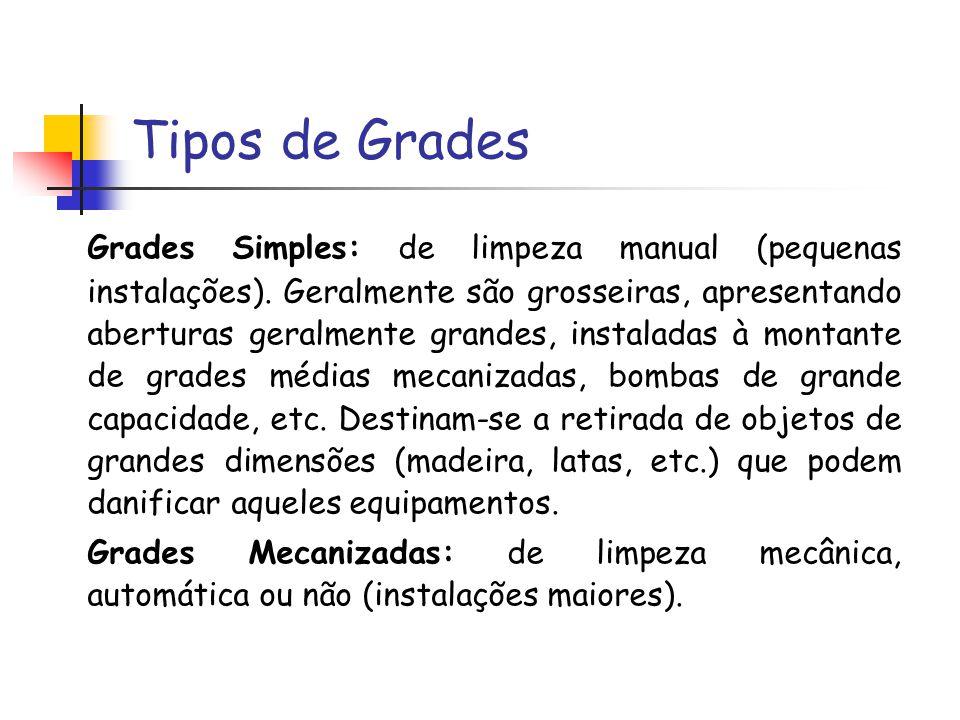 Tipos de Grades Grades Simples: de limpeza manual (pequenas instalações). Geralmente são grosseiras, apresentando aberturas geralmente grandes, instal