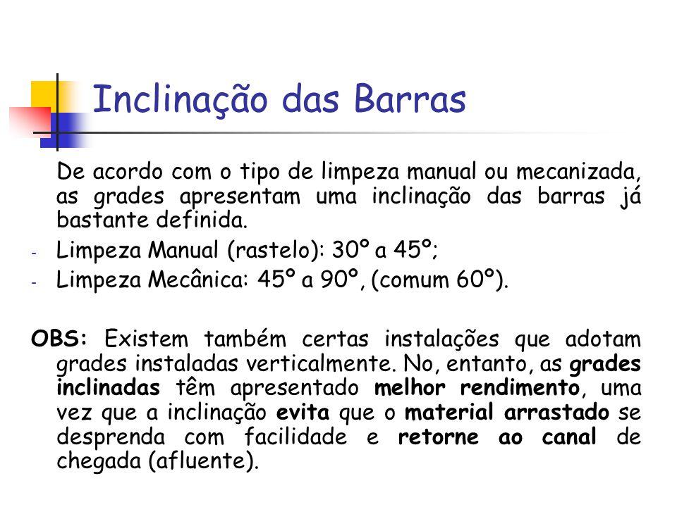 Inclinação das Barras De acordo com o tipo de limpeza manual ou mecanizada, as grades apresentam uma inclinação das barras já bastante definida. - Lim