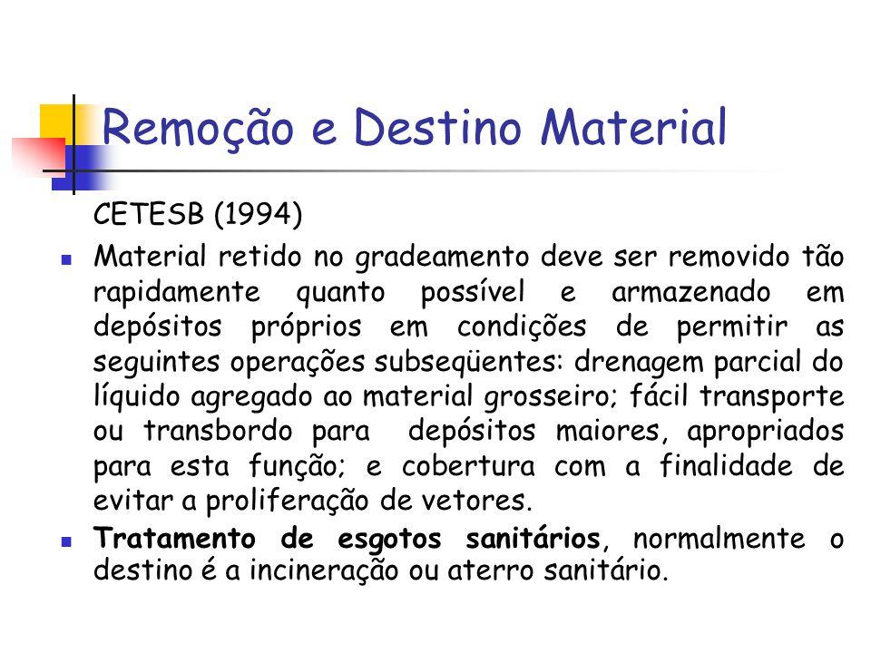 Remoção e Destino Material CETESB (1994) Material retido no gradeamento deve ser removido tão rapidamente quanto possível e armazenado em depósitos pr