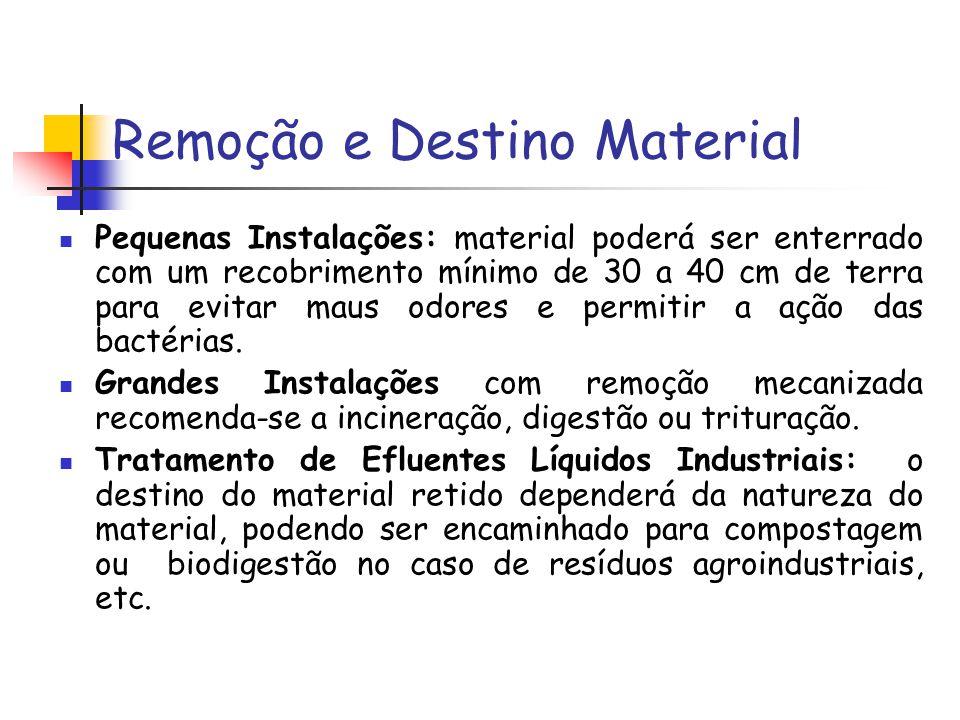 Remoção e Destino Material Pequenas Instalações: material poderá ser enterrado com um recobrimento mínimo de 30 a 40 cm de terra para evitar maus odores e permitir a ação das bactérias.