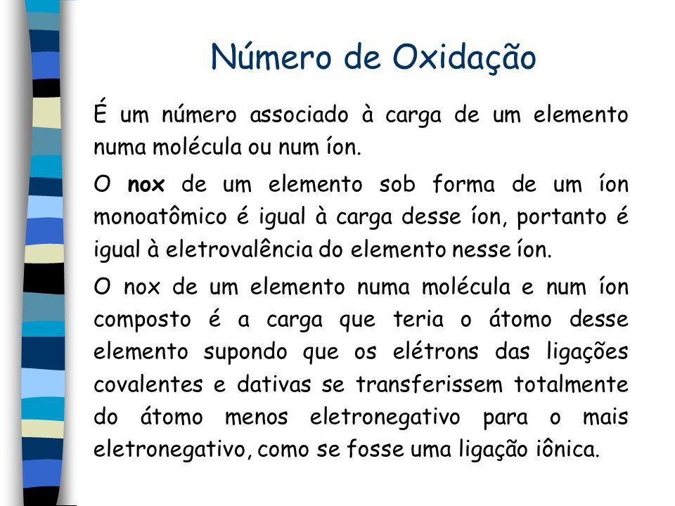 Número de Oxidação É um número associado à carga de um elemento numa molécula ou num íon. O nox de um elemento sob forma de um íon monoatômico é igual