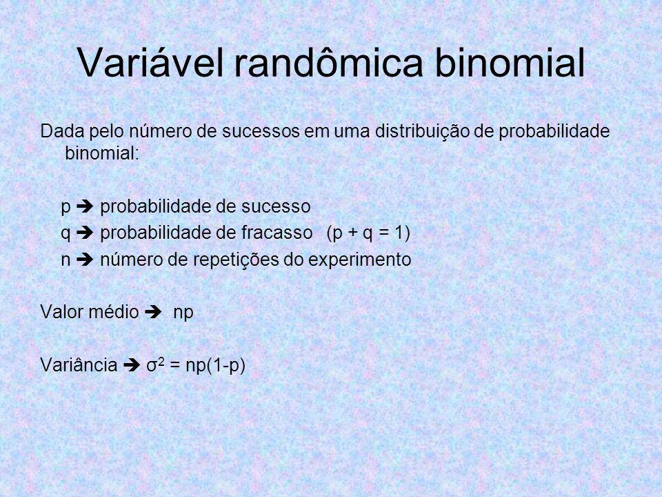 Variável randômica binomial Dada pelo número de sucessos em uma distribuição de probabilidade binomial: p probabilidade de sucesso q probabilidade de fracasso (p + q = 1) n número de repetições do experimento Valor médio np Variância σ 2 = np(1-p)