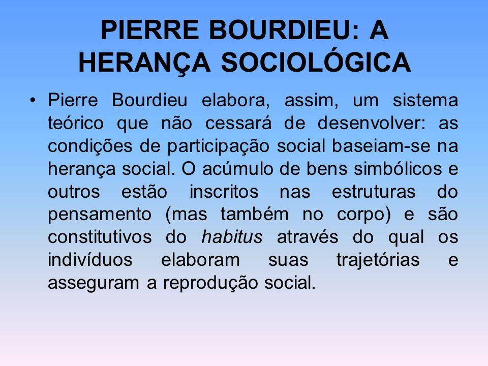PIERRE BOURDIEU: A HERANÇA SOCIOLÓGICA Pierre Bourdieu elabora, assim, um sistema teórico que não cessará de desenvolver: as condições de participação