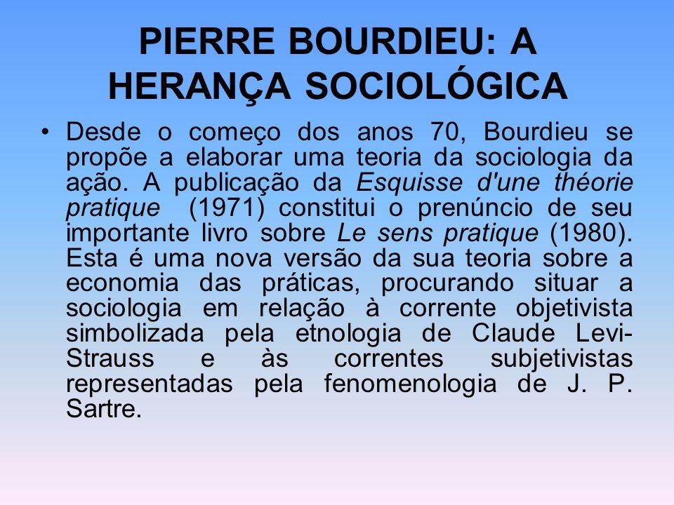 PIERRE BOURDIEU: A HERANÇA SOCIOLÓGICA Desde o começo dos anos 70, Bourdieu se propõe a elaborar uma teoria da sociologia da ação. A publicação da Esq