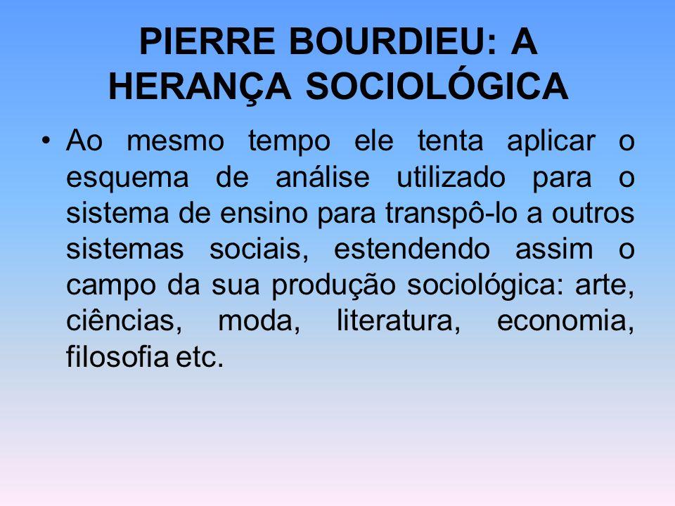 PIERRE BOURDIEU: A HERANÇA SOCIOLÓGICA Ao mesmo tempo ele tenta aplicar o esquema de análise utilizado para o sistema de ensino para transpô-lo a outr