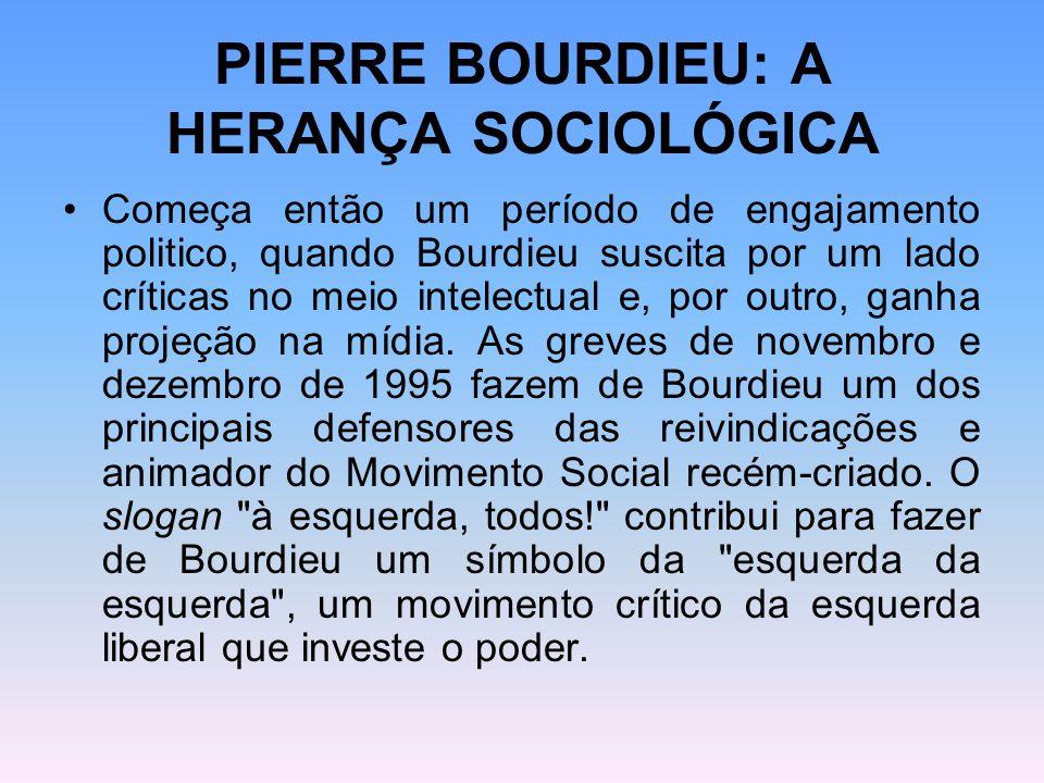 PIERRE BOURDIEU: A HERANÇA SOCIOLÓGICA Começa então um período de engajamento politico, quando Bourdieu suscita por um lado críticas no meio intelectu