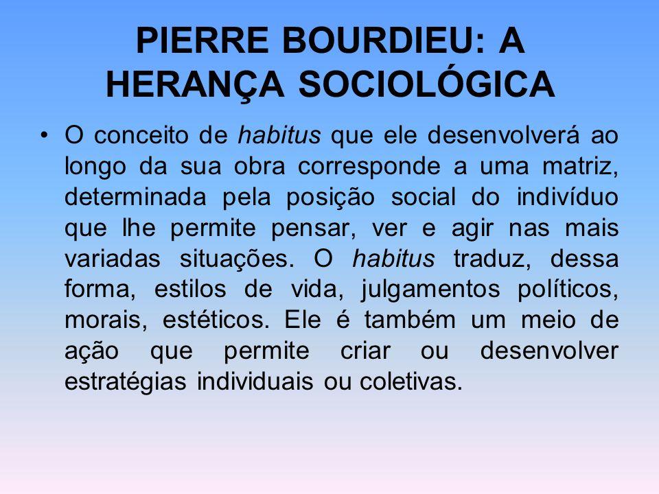 PIERRE BOURDIEU: A HERANÇA SOCIOLÓGICA O conceito de habitus que ele desenvolverá ao longo da sua obra corresponde a uma matriz, determinada pela posi