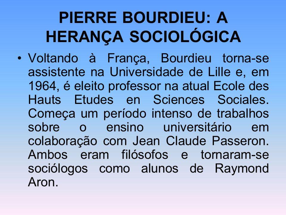 PIERRE BOURDIEU: A HERANÇA SOCIOLÓGICA Voltando à França, Bourdieu torna-se assistente na Universidade de Lille e, em 1964, é eleito professor na atua