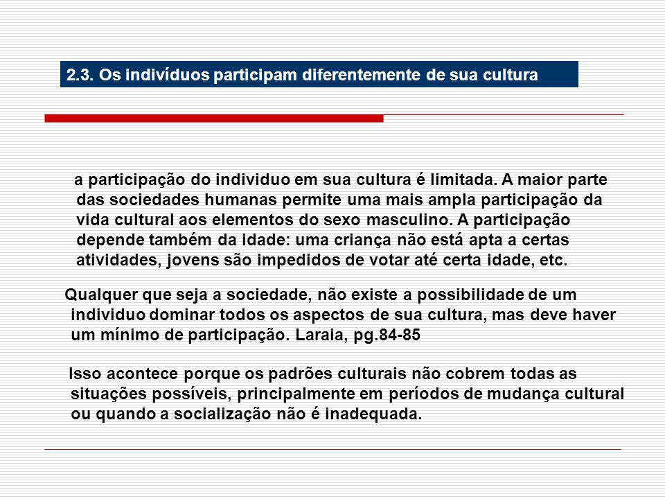 2.3. Os indivíduos participam diferentemente de sua cultura a participação do individuo em sua cultura é limitada. A maior parte das sociedades humana