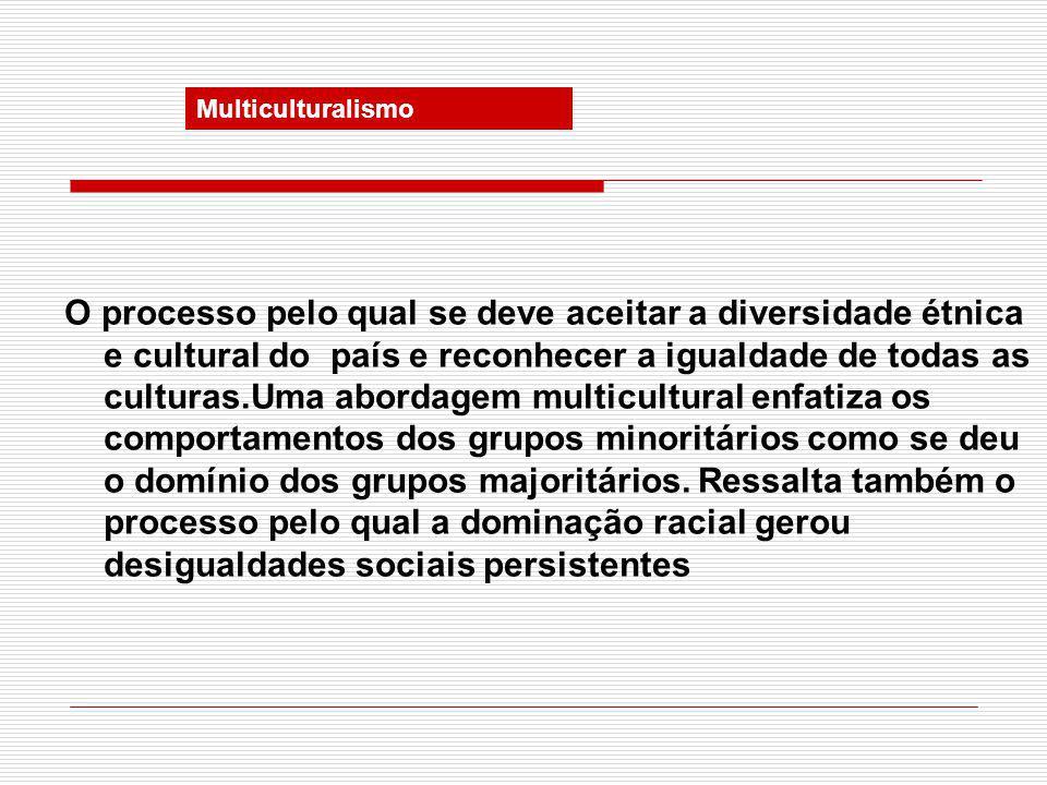 Multiculturalismo O processo pelo qual se deve aceitar a diversidade étnica e cultural do país e reconhecer a igualdade de todas as culturas.Uma abordagem multicultural enfatiza os comportamentos dos grupos minoritários como se deu o domínio dos grupos majoritários.