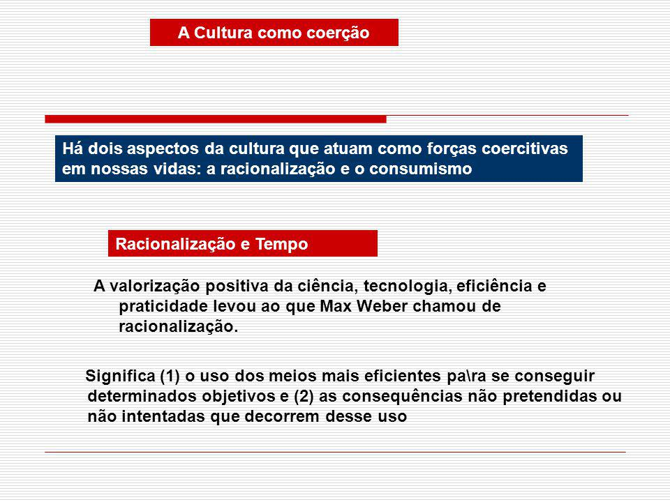 A Cultura como coerção Há dois aspectos da cultura que atuam como forças coercitivas em nossas vidas: a racionalização e o consumismo Racionalização e Tempo A valorização positiva da ciência, tecnologia, eficiência e praticidade levou ao que Max Weber chamou de racionalização.
