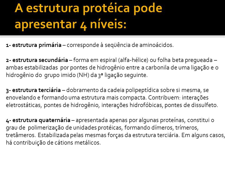 Composição: proteínas simples e conjugadas Conformação: proteínas globulares e fibrosas Proteínas simples: formadas apenas de aminoácidos (albuminas e globulinas).