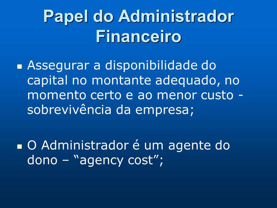 Papel do Administrador Financeiro Assegurar a disponibilidade do capital no montante adequado, no momento certo e ao menor custo - sobrevivência da em