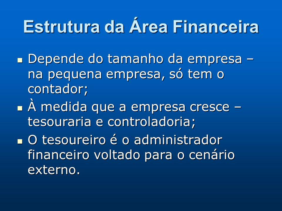 Estrutura da Área Financeira Depende do tamanho da empresa – na pequena empresa, só tem o contador; Depende do tamanho da empresa – na pequena empresa