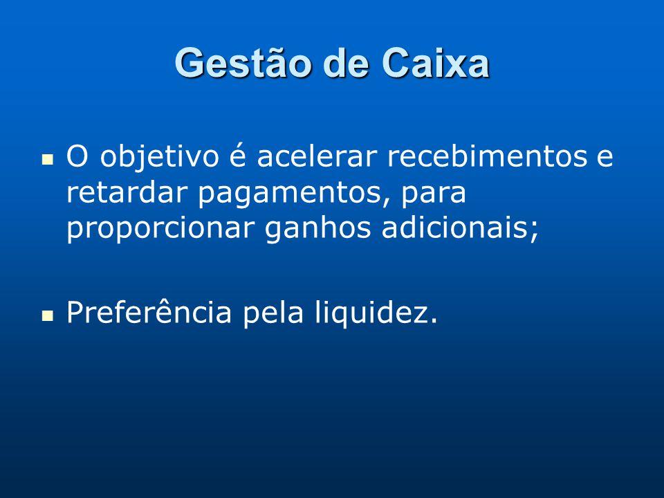 Gestão de Caixa O objetivo é acelerar recebimentos e retardar pagamentos, para proporcionar ganhos adicionais; Preferência pela liquidez.