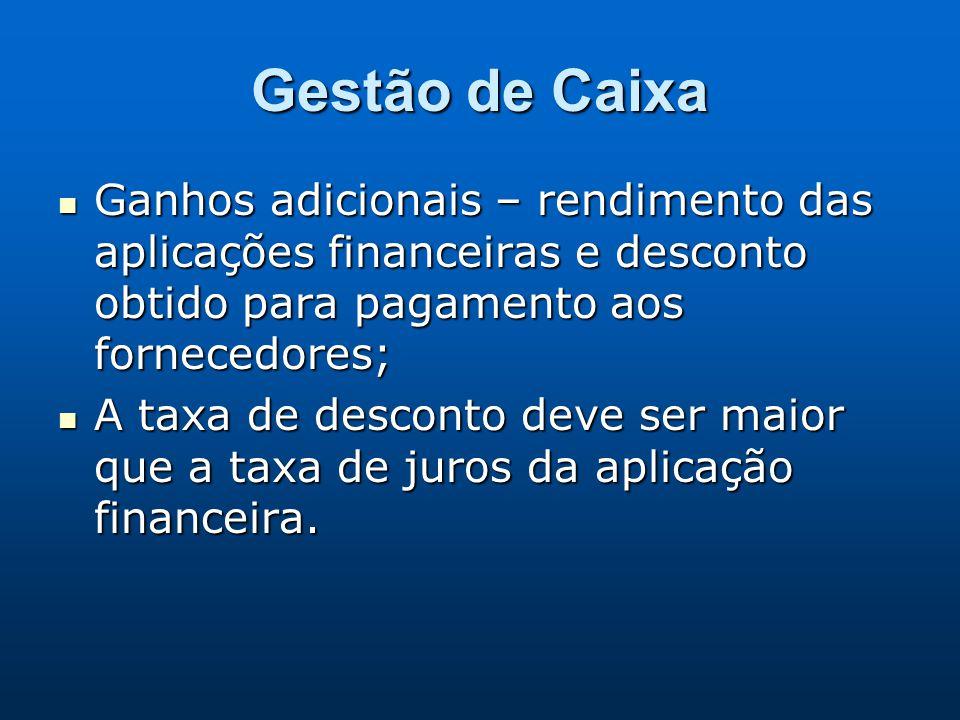 Gestão de Caixa Ganhos adicionais – rendimento das aplicações financeiras e desconto obtido para pagamento aos fornecedores; Ganhos adicionais – rendi
