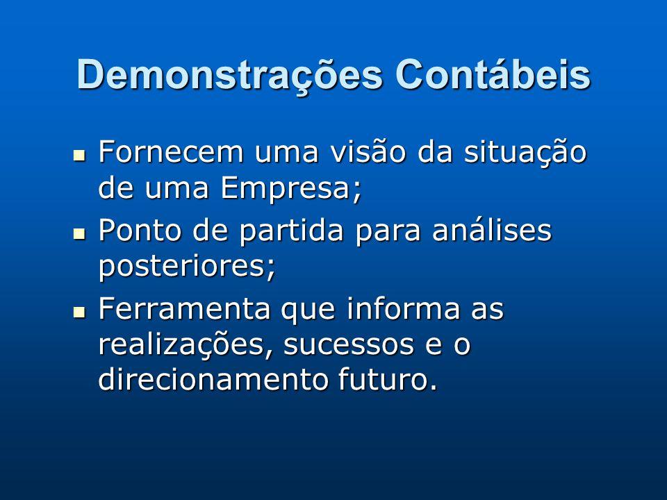 Demonstrações Contábeis Fornecem uma visão da situação de uma Empresa; Fornecem uma visão da situação de uma Empresa; Ponto de partida para análises p