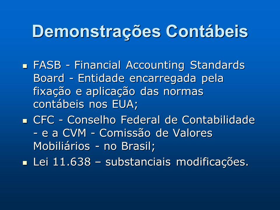 Demonstrações Contábeis FASB - Financial Accounting Standards Board - Entidade encarregada pela fixação e aplicação das normas contábeis nos EUA; FASB