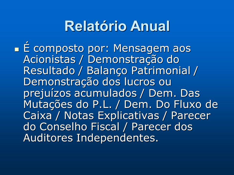Relatório Anual É composto por: Mensagem aos Acionistas / Demonstração do Resultado / Balanço Patrimonial / Demonstração dos lucros ou prejuízos acumu