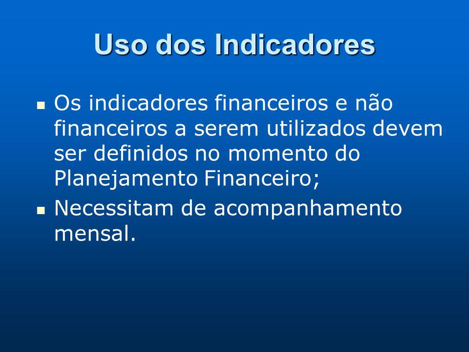 Uso dos Indicadores Os indicadores financeiros e não financeiros a serem utilizados devem ser definidos no momento do Planejamento Financeiro; Necessi