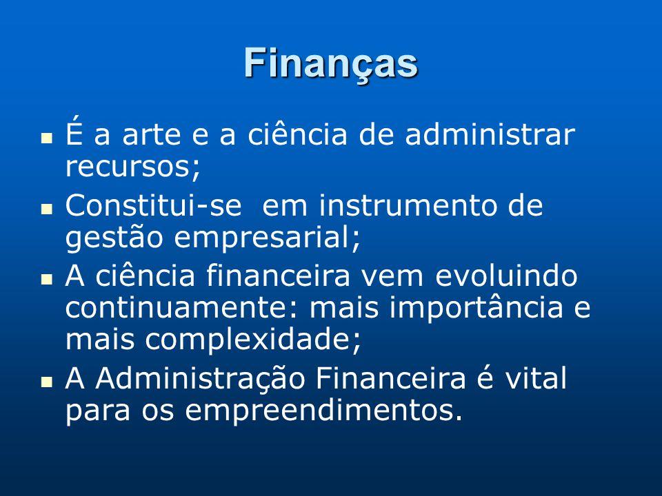 Finanças É a arte e a ciência de administrar recursos; Constitui-se em instrumento de gestão empresarial; A ciência financeira vem evoluindo continuam