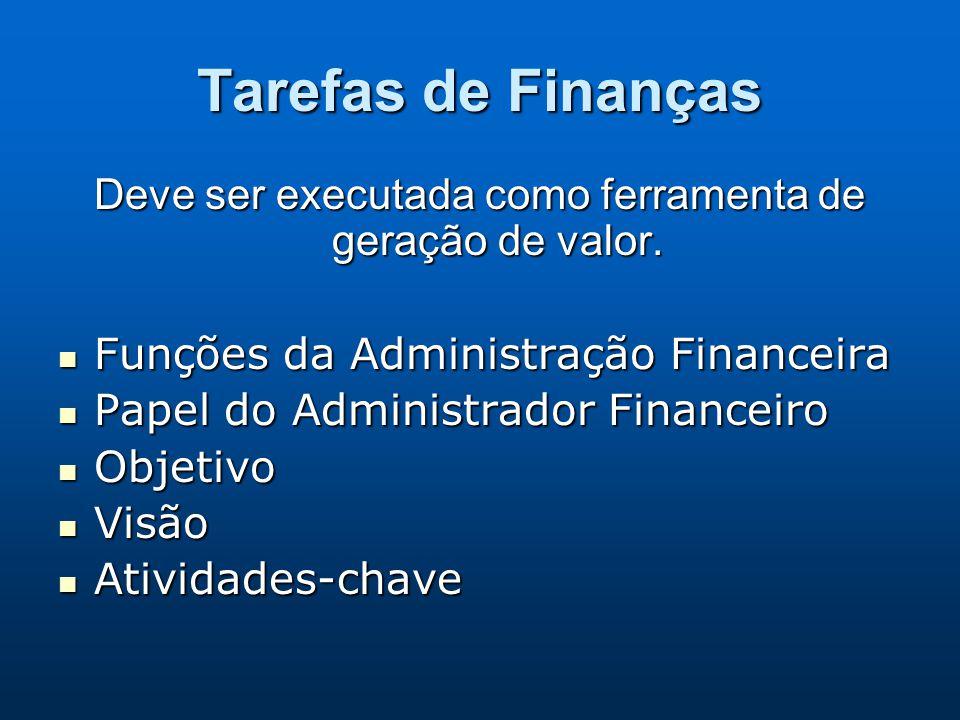 Tarefas de Finanças Deve ser executada como ferramenta de geração de valor. Funções da Administração Financeira Funções da Administração Financeira Pa