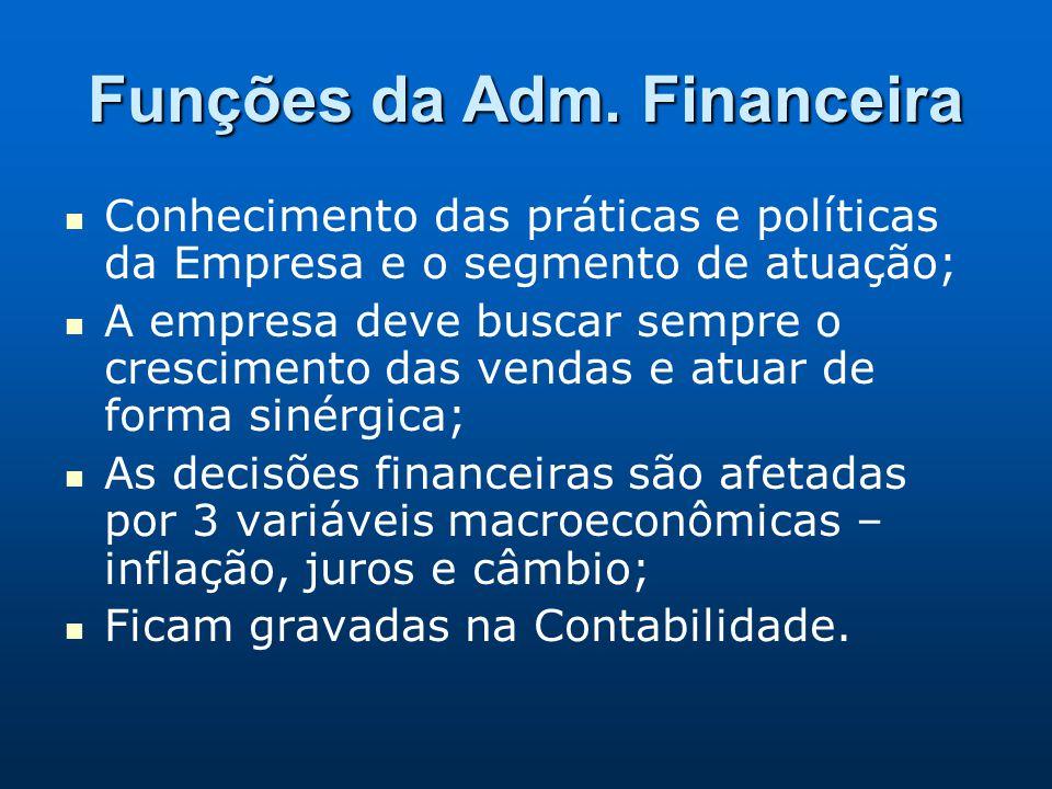 Funções da Adm. Financeira Conhecimento das práticas e políticas da Empresa e o segmento de atuação; A empresa deve buscar sempre o crescimento das ve