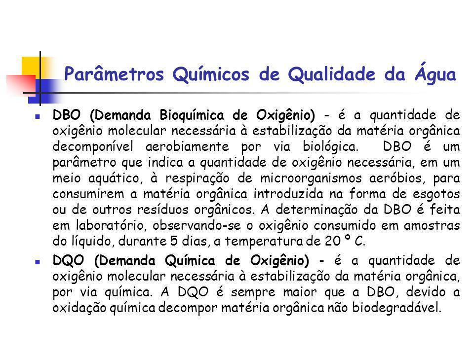Parâmetros Químicos de Qualidade da Água DBO (Demanda Bioquímica de Oxigênio) - é a quantidade de oxigênio molecular necessária à estabilização da matéria orgânica decomponível aerobiamente por via biológica.
