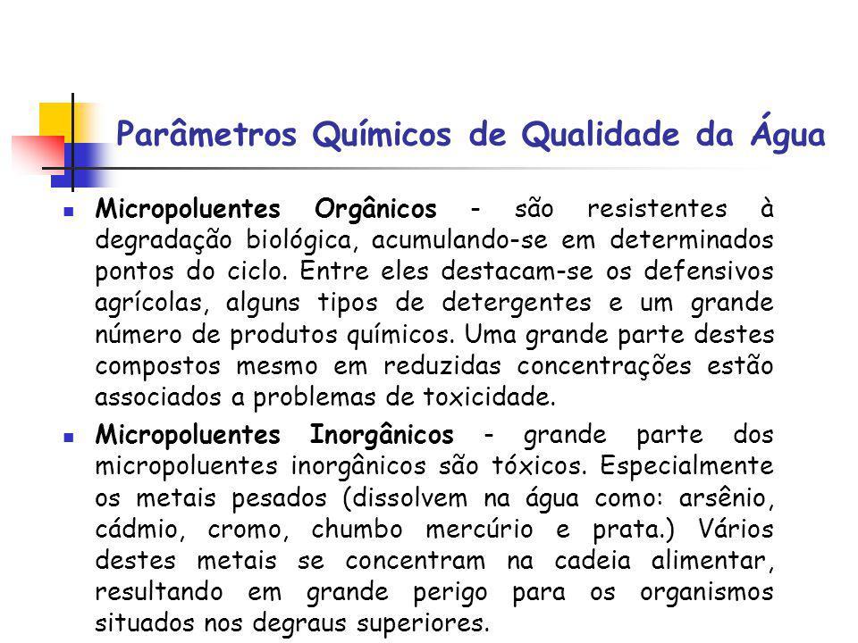 Parâmetros Químicos de Qualidade da Água Micropoluentes Orgânicos - são resistentes à degradação biológica, acumulando-se em determinados pontos do ci