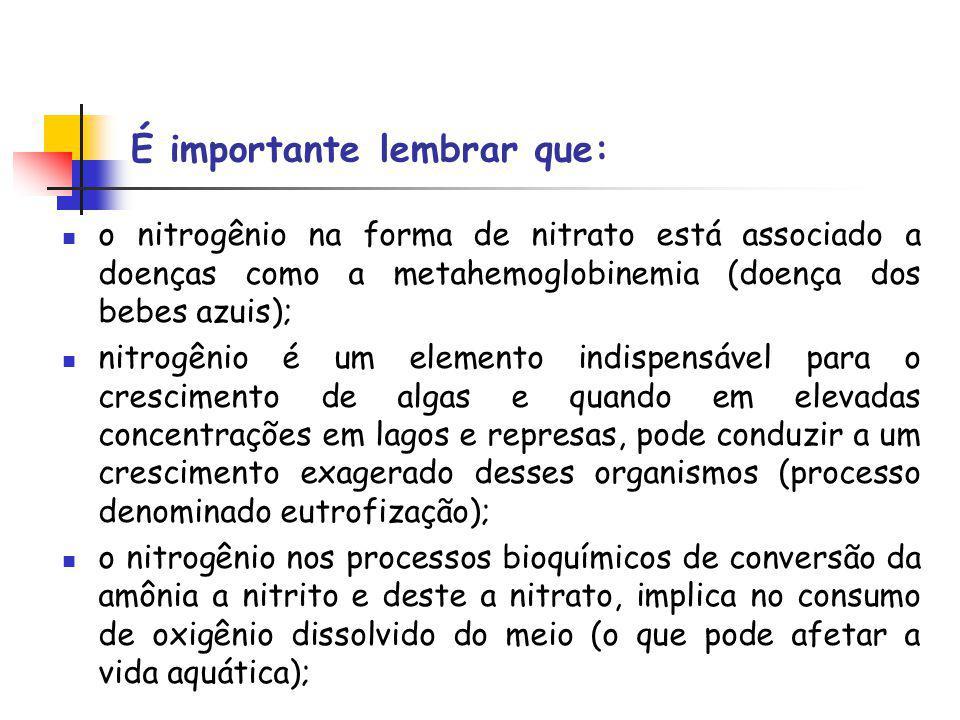 É importante lembrar que: o nitrogênio na forma de nitrato está associado a doenças como a metahemoglobinemia (doença dos bebes azuis); nitrogênio é um elemento indispensável para o crescimento de algas e quando em elevadas concentrações em lagos e represas, pode conduzir a um crescimento exagerado desses organismos (processo denominado eutrofização); o nitrogênio nos processos bioquímicos de conversão da amônia a nitrito e deste a nitrato, implica no consumo de oxigênio dissolvido do meio (o que pode afetar a vida aquática);