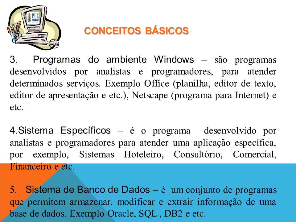 CONCEITOS BÁSICOS 3. Programas do ambiente Windows – são programas desenvolvidos por analistas e programadores, para atender determinados serviços. Ex