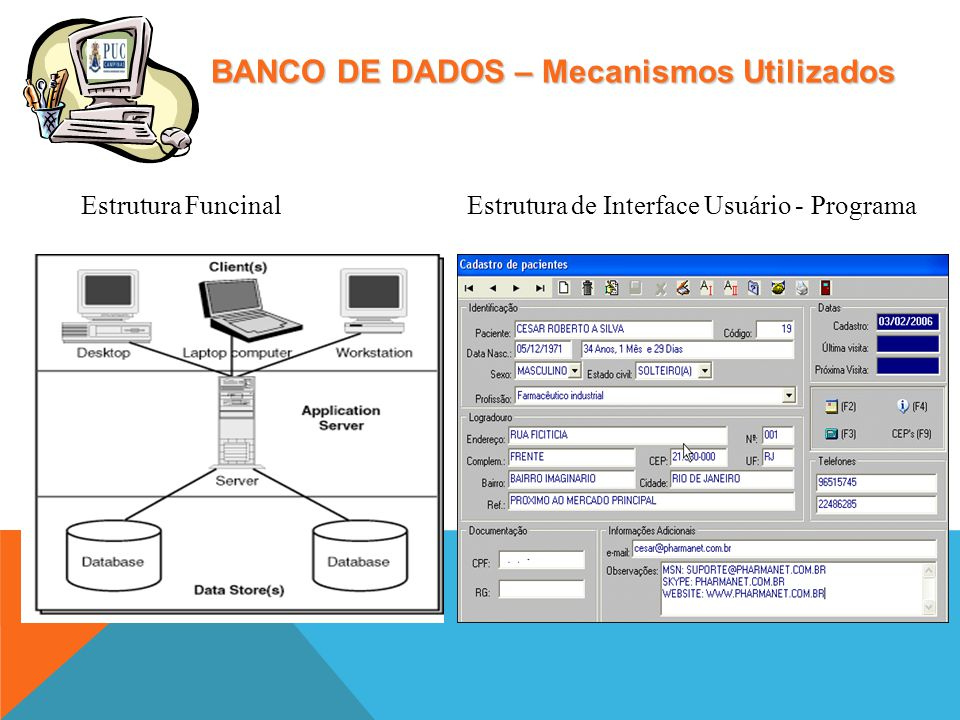 BANCO DE DADOS – Mecanismos Utilizados Estrutura FuncinalEstrutura de Interface Usuário - Programa