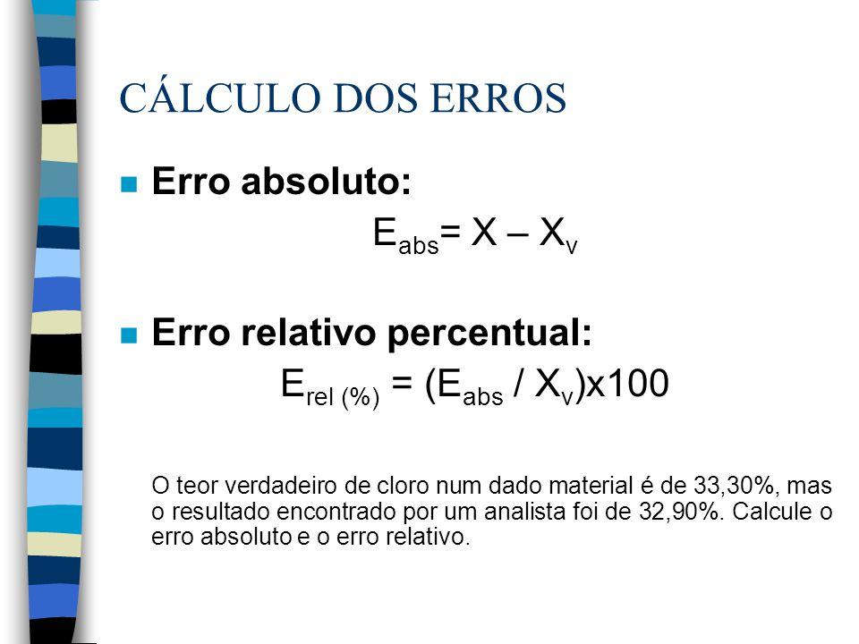 CÁLCULO DOS ERROS n Erro absoluto: E abs = X – X v n Erro relativo percentual: E rel (%) = (E abs / X v )x100 O teor verdadeiro de cloro num dado mate
