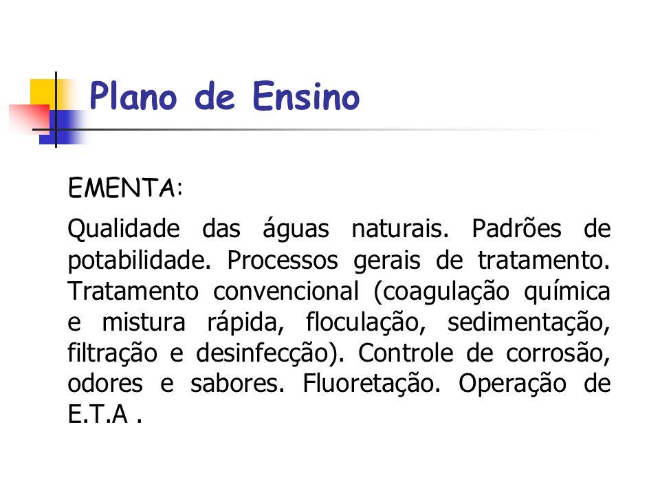 Plano de Ensino EMENTA: Qualidade das águas naturais.