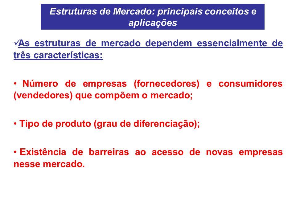 As estruturas de mercado dependem essencialmente de três características: Número de empresas (fornecedores) e consumidores (vendedores) que compõem o