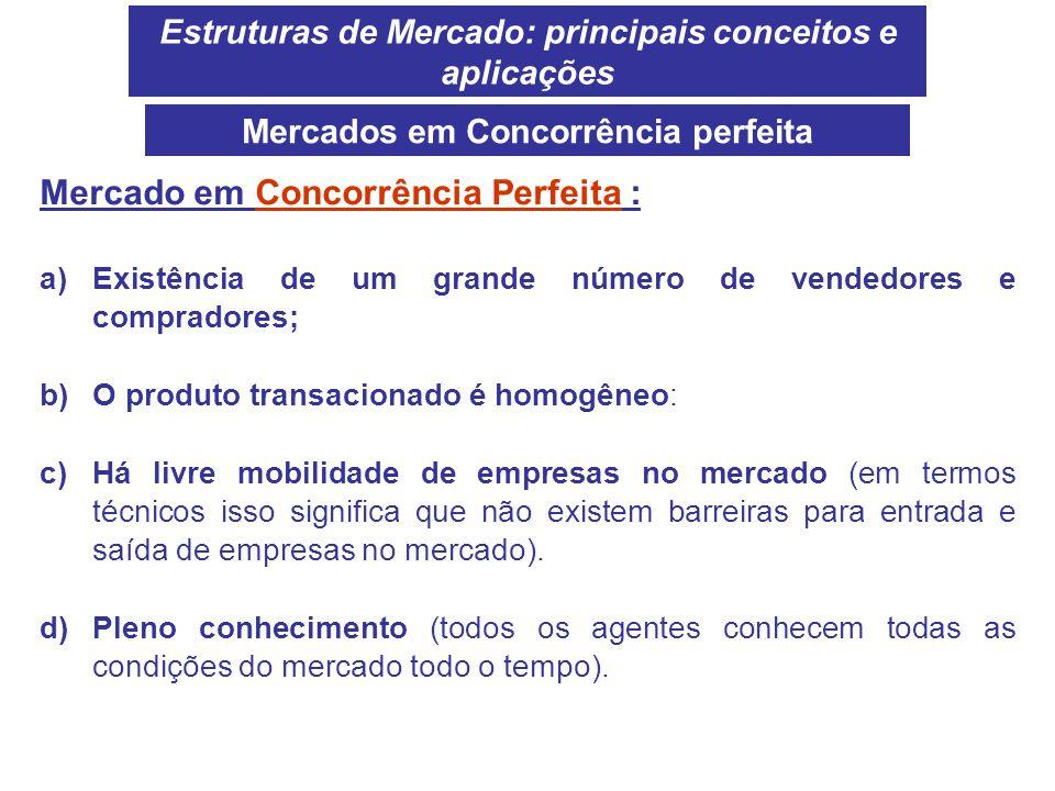Estruturas de Mercado: principais conceitos e aplicações Mercado em Concorrência Perfeita : a)Existência de um grande número de vendedores e comprador