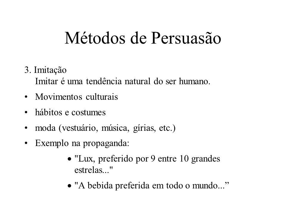 Métodos de Persuasão 3. Imitação Imitar é uma tendência natural do ser humano. Movimentos culturais hábitos e costumes moda (vestuário, música, gírias