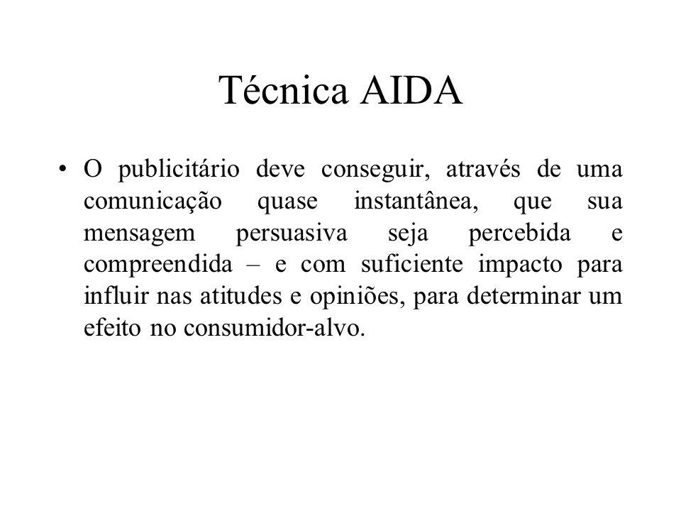 Técnica AIDA O publicitário deve conseguir, através de uma comunicação quase instantânea, que sua mensagem persuasiva seja percebida e compreendida –